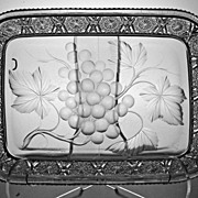 REDUCED Rare Rectangular Tab Handled Tray Signed Tuthill in Vintage Pattern