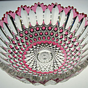 REDUCED Very Rare American Cut Glass Cranberry to Clear Bowl