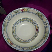 Bavaria Hand Painted 13 pieces Berry Bowl Set  Roses in Abstract Design,Ca 1930