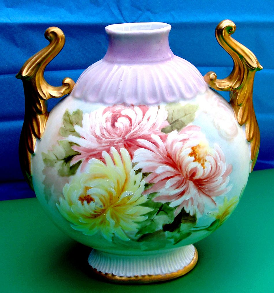 Limoges France Hand Painted Pillow Spider Vase