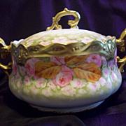 "Fabulous Limoges Hand Painted Cracker/Biscuit Jar Bowl, Limoges Listed Artist ""Bay"" Signed,Ca 1890's"