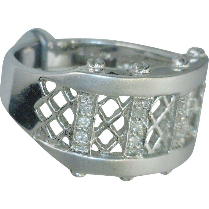 Etruscan Style 14kt White Gold Band With Diamonds