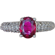 Ruby & Pave Diamonds 14kt White Gold Ring
