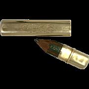 Bar Brooch Art Nouveau Novelty Pin 14 Karat Yellow Gold with Hidden Pencil Holder
