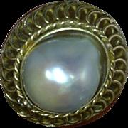 Grand Baroque White Pearl Earrings 14 Karat Gold