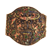 Antique Chinese Cloisonne Scalloped Edges Bracelet in 800 Silver with Pink, Blue, Green, Yellow, and White Enamel Lotus Flowers