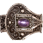 Amazing Belt and Buckle Victorian-Style Wide Bracelet Cast in Sterling Silver 925 Features a Huge Oval Gemstone Historical Provenance