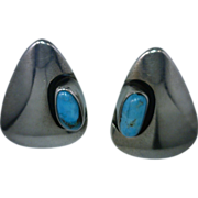 Turquoise and Sterling Silver Earrings Rounded Triangle