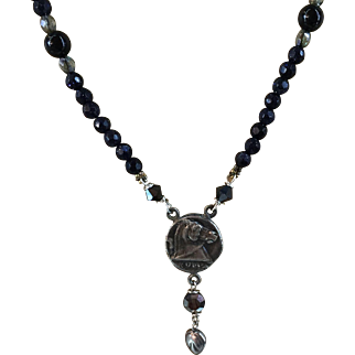 Artisan Necklace Horse Head in Profile Pendant 999 Silver suspended from Midnight Blue Aventurine Quartz and Sterling Silver Beads 23 Inches Long