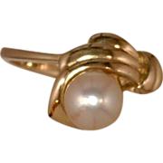Pearl 14 Karat Gold Ring 6 MM Akoya Pearl Asymmetry Design