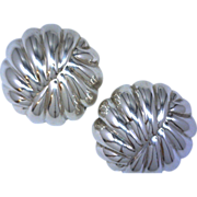 925 Silver Clip Style Button Shell Earrings