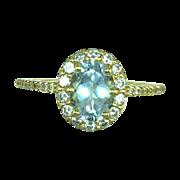 Jewelry Artisan Custom Ring 18 Karat Gold Genuine Oval Aquamarine  Diamond 18kt Gold Ring