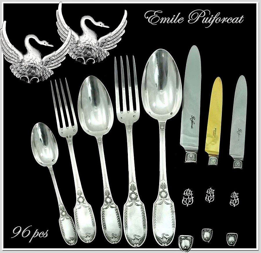 Emile Puiforcat: Antique French Sterling Flatware Set 8 PC Place Setting for 12! Swans
