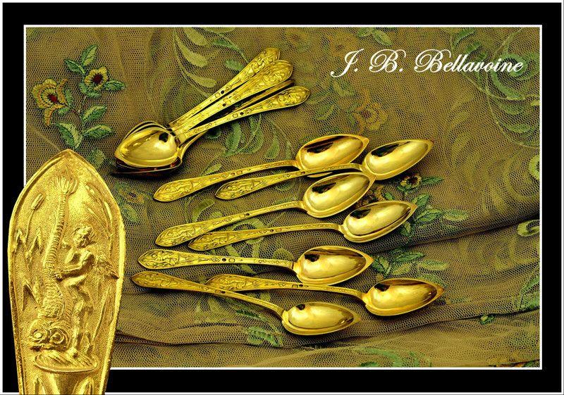 BELLAVOINE: 12 Antique French Vermeil Sterling Spoons Renaissance Style 1819-1838