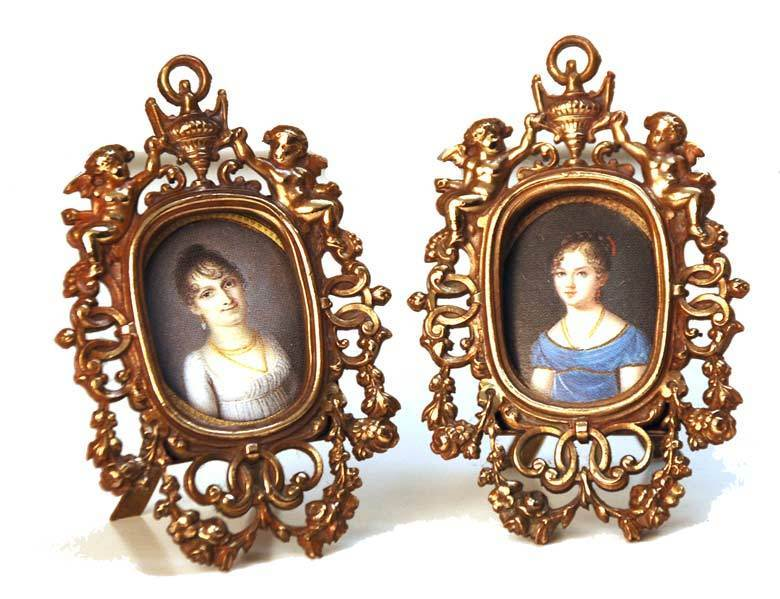Vintage Pair of Miniature Bronze Picture Frames
