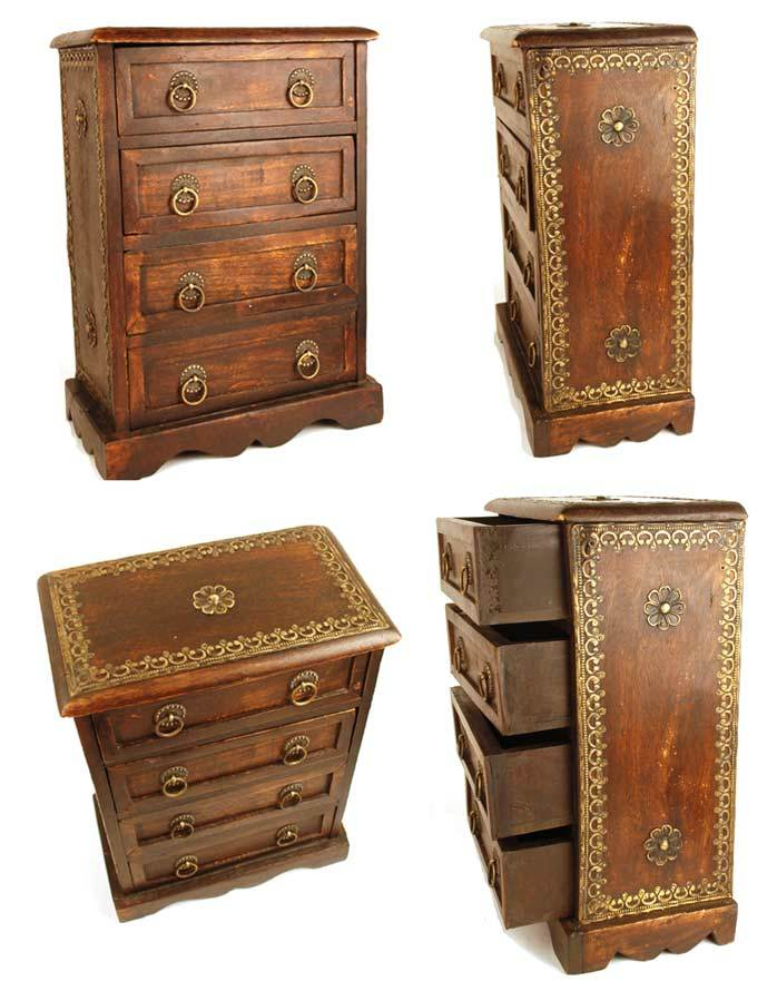 Antique Miniature French Wood and Brass Bureau