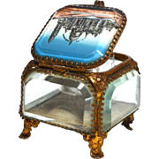 Antique  Grand Tour Brass and Beveled Glass Eglomise Basilique de Sacre Coeur Trinket Box, Casket