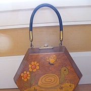 Vintage Decoupage Wooden Handbag Purse