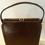 1950's-60's Dark Chocolate Lizard Skin Kelly Style Handbag Purse