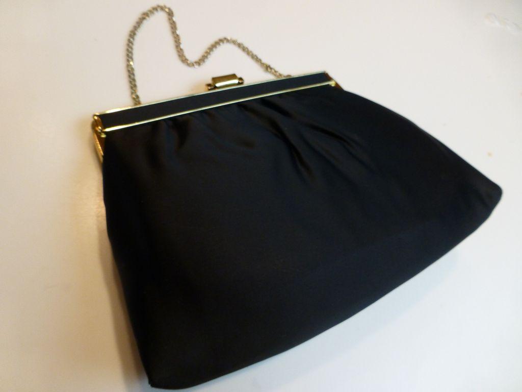 Andre Black Satin Evening Bag Clutch