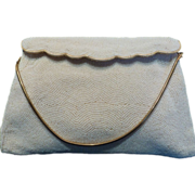 Vintage White Beaded Bag Clutch Purse