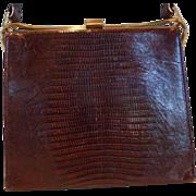 Vintage DEITSCH Lizard Skin Purse Hand Bag  Mahogany