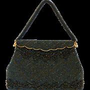 Vintage Green Beaded Bag Handbag Purse Mint
