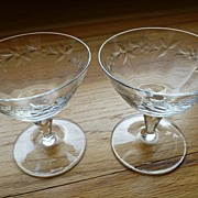 Vintage 1950's Crystal Cordial Glasses Berry Cut Design - Pair