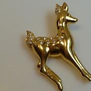 Swarovski Fawn Brooch Pin with Rhinestones