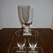 Mid-Century Modern Crystal Rectangular Foot Glasses – Set of 6
