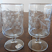 RARE Vintage Mountaineer Cut Glass Wine Goblets Grape Design PAIR