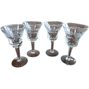 Cut & Etched Crystal Cordials Set of 4