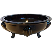 L.E. Smith Art Deco Black Amethyst Glass Round Footed Flower Bowl Dish