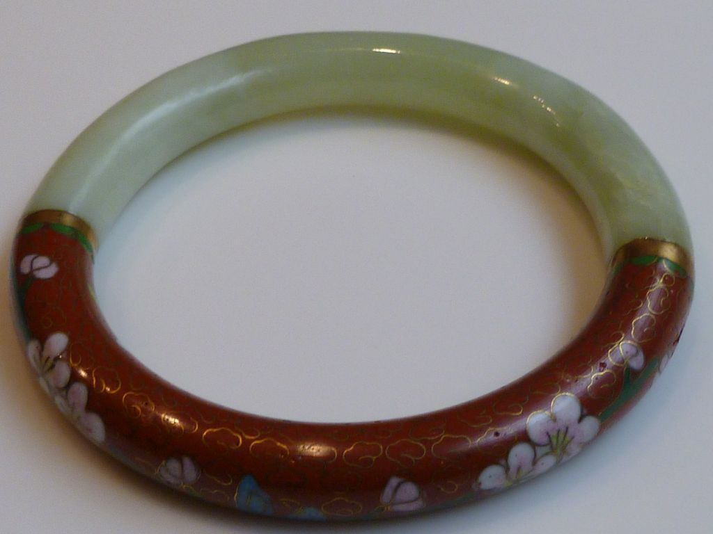 Vintage Chinese Jade and Cloisonné Bangle Bracelet