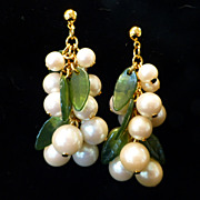 Faux Pearl Hanging Grape Cluster Earrings