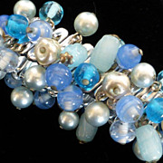 Vintage Expansion Bracelet w Blue Glass Beads and Faux Pearls
