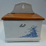 Vintage Blue & White Ceramic Salt Box with Wooden Lid