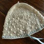 Antique French Crocheted Silk  Baby Bonnet
