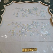 Vintage Embroidered Cotton Pillow Cases in Original Box