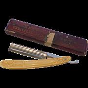 SALE PENDING H. Boker Red Injun No.301 Gentleman's Shaving Razor Faux Ivory Scales- German