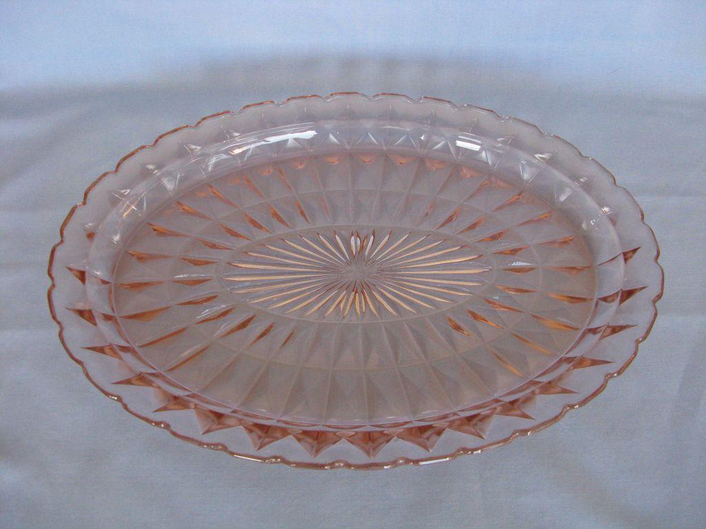"""Jeannette Glass Pink Windsor """"Windsor Diamond"""" Platter"""