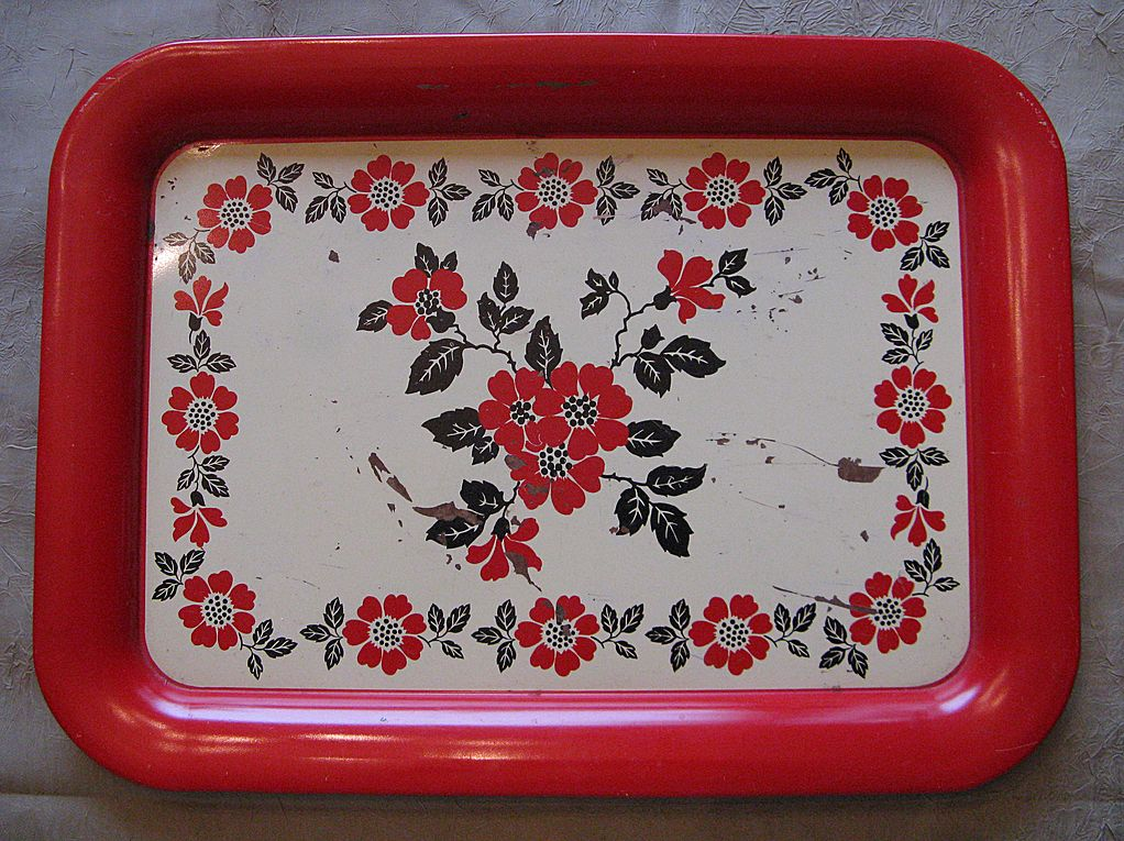 Hall China Red Poppy Metal Serving Tray
