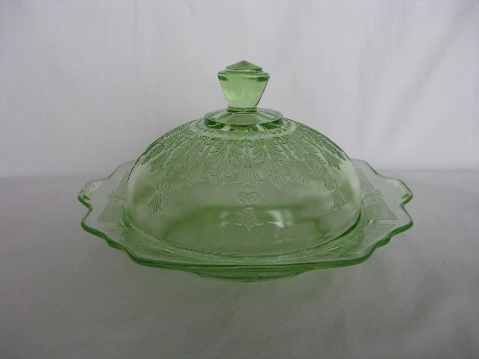 Hocking Glass Princess Green Butter Lid