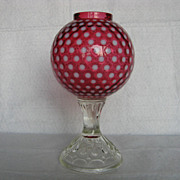 Fenton Polka Dot Cranberry 1955-56 Ivy Ball, Footed