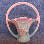 """Hull Pottery Dogwood 501-7-1/2"""" Basket"""