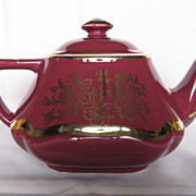 Hall China Baltimore Teapot Maroon With Standard Gold