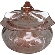 Depression Glass Pink Adam Candy Jar