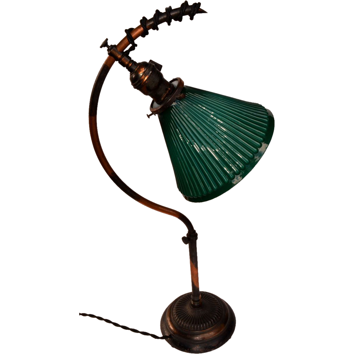 Industrial Task Lamp with Adjustable Height and Oxidized Copper Finish