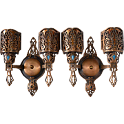Pair of Bronze Double Light Spanish Revival Sconces with Mica Shades