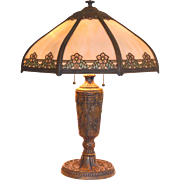 Slag Glass Panel Lamp with Painted Shade Accents